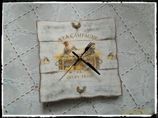 """Часы для дома ручной работы. Ярмарка Мастеров - ручная работа. Купить Часы """"Куриные"""", деревенские... на досочках.... Handmade. Комбинированный, прованс"""