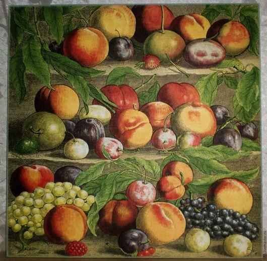 """Кухня ручной работы. Ярмарка Мастеров - ручная работа. Купить """"Персики, виноград и сливы"""" Разделочная доска панно. Handmade."""