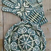 Аксессуары handmade. Livemaster - original item woolen crochet set beret hat and gloves. Handmade.