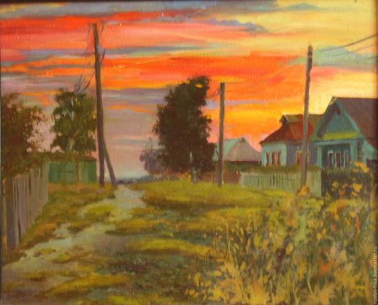 Пейзаж ручной работы. Ярмарка Мастеров - ручная работа. Купить Вечер в деревне. Handmade. Ярко-красный, закат, картина в подарок