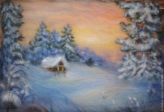 Пейзаж ручной работы. Ярмарка Мастеров - ручная работа. Купить зимний пейзаж.картина из шерсти. Handmade. Картина, картина из шерсти