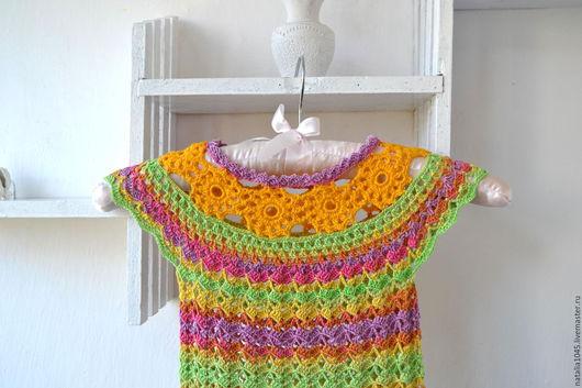 Платья ручной работы. Ярмарка Мастеров - ручная работа. Купить Туника сарафан ажурный для девочки вязаный крючком. Handmade. Комбинированный