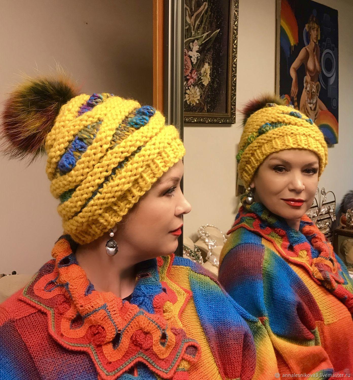 "Шапка бини ""КАМУШКИ» с помпоном жёлтая, Шапки, Москва,  Фото №1"