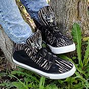 Обувь ручной работы. Ярмарка Мастеров - ручная работа Зебра Сфинкс кот КЕДЫ ручной работы Необычная обувь. Handmade.