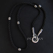Украшения handmade. Livemaster - original item Silk cord with silver beads. Handmade.