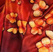 """Аксессуары ручной работы. Ярмарка Мастеров - ручная работа Шелковый шарф батик """"Орхидеи"""". Handmade."""
