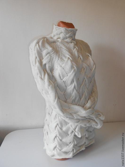 Кофты и свитера ручной работы. Ярмарка Мастеров - ручная работа. Купить Свитер с косами из кашемира. Handmade. Белый