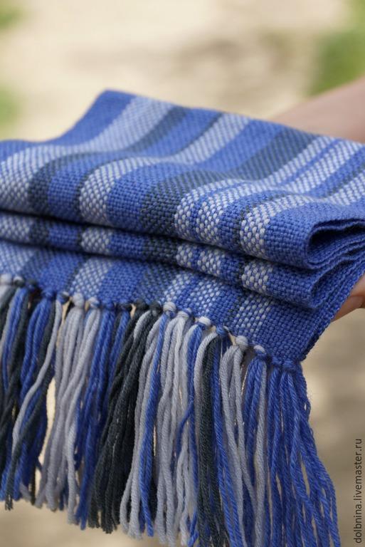 Шапки и шарфы ручной работы. Ярмарка Мастеров - ручная работа. Купить Детский домотканый шарф blue. Handmade. В полоску