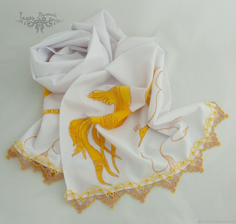 Wonder Bird Scarf, Textile White Women's Scarf with Lace, Scarves, Novosibirsk,  Фото №1
