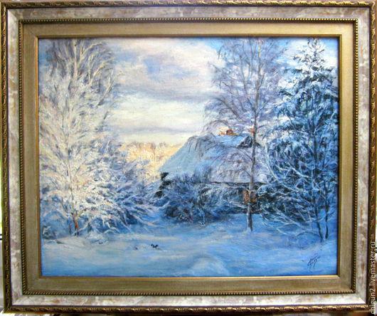Пейзаж ручной работы. Ярмарка Мастеров - ручная работа. Купить Зимний пейзаж. Вечереет.. Handmade. Картина маслом, картина в подарок