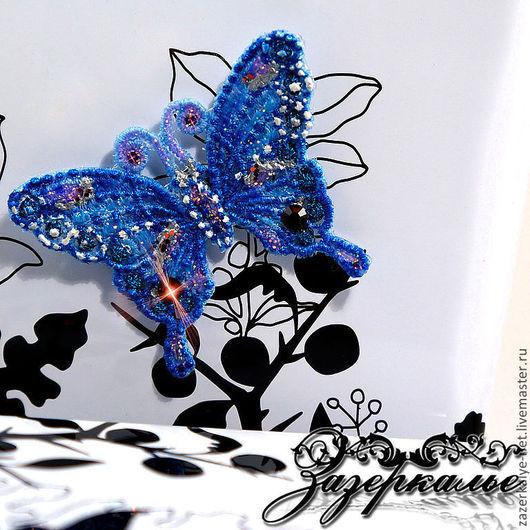 """Магниты ручной работы. Ярмарка Мастеров - ручная работа. Купить Магнит """"Бабочка"""". Handmade. Бижутерия, вышитая бижутерия, бабочка, лазурь"""