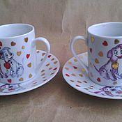 Винтаж handmade. Livemaster - original item Two coffee couples with dalmatinci. Handmade.