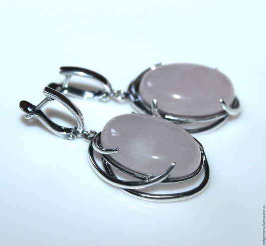 """Серьги ручной работы. Ярмарка Мастеров - ручная работа. Купить Серьги """"Есения"""" розовый кварц, серебрение 925 пробы. Handmade."""