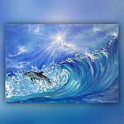 Картины и панно handmade. Livemaster - original item The author`s picture. Towards happiness. Wave and Dolphin (seascape). Handmade.