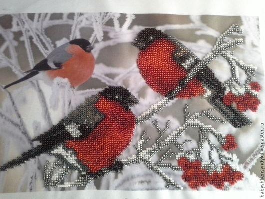 Животные ручной работы. Ярмарка Мастеров - ручная работа. Купить Снегири на ветке. Handmade. Ярко-красный, белый