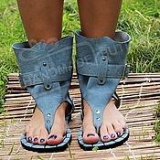 Обувь ручной работы handmade. Livemaster - original item Sandals grey blue suede high through the finger. Handmade.