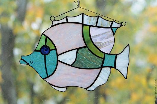 Элементы интерьера ручной работы. Ярмарка Мастеров - ручная работа. Купить Pink fish . Интерьерное украшение. Витражная рыба - стекло, металл. Handmade.