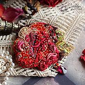 """Украшения ручной работы. Ярмарка Мастеров - ручная работа Брошь """"Королевкая роза"""" : вышивка бисером, лентами. Handmade."""