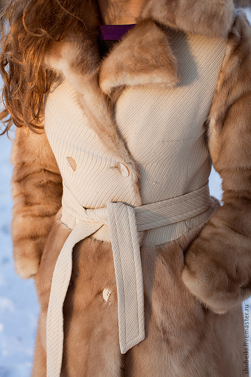 Купить Пальто с отделкой норкой - натуральный мех, Норка, шуба, пальто, мех натуральный, зима