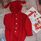 Работы для детей, handmade. Livemaster - original item Knitted Romper hooded
