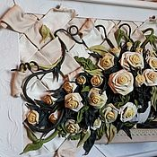 """Картины и панно ручной работы. Ярмарка Мастеров - ручная работа Панно из кожи """"Розы"""". Handmade."""