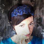 Украшения ручной работы. Ярмарка Мастеров - ручная работа Ободок для волос с розами  на резинке Синий. Handmade.