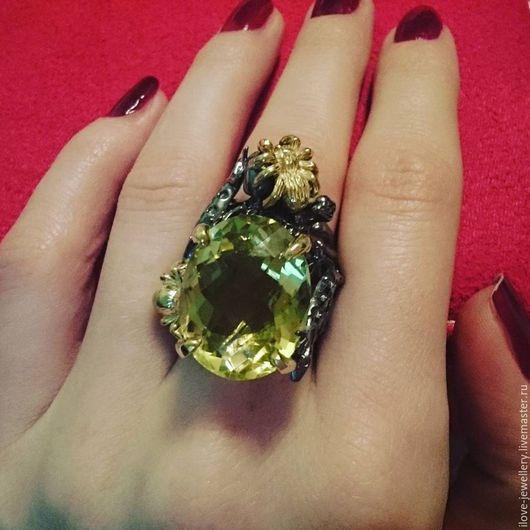 """Кольца ручной работы. Ярмарка Мастеров - ручная работа. Купить LUX! """"Шакти""""- серебряный перстень с лимонным кварцем. Handmade. Лимонный"""