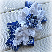 Украшения handmade. Livemaster - original item Hairpin-automatic Blue garden in the technique of kanzashi. Handmade.