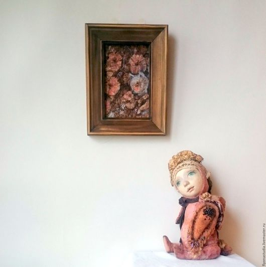 Муркины мальвы. Сказочная открытка на холсте для детской комнаты. Покрыта глянцевым лаком. Может экспонироваться на стене. Кискин садик. Сказка в теплоте рук Алёны Коневой