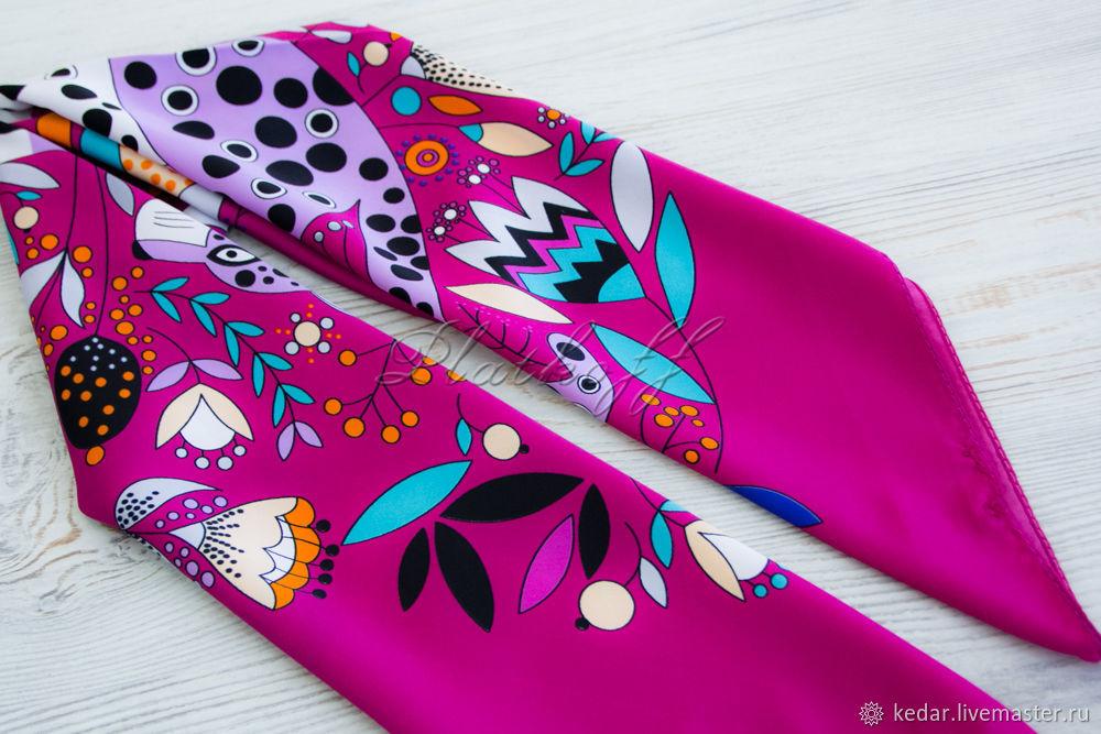 Silk Art Vanensis satin neckerchief 'Funny leopard', Scarves, Moscow,  Фото №1
