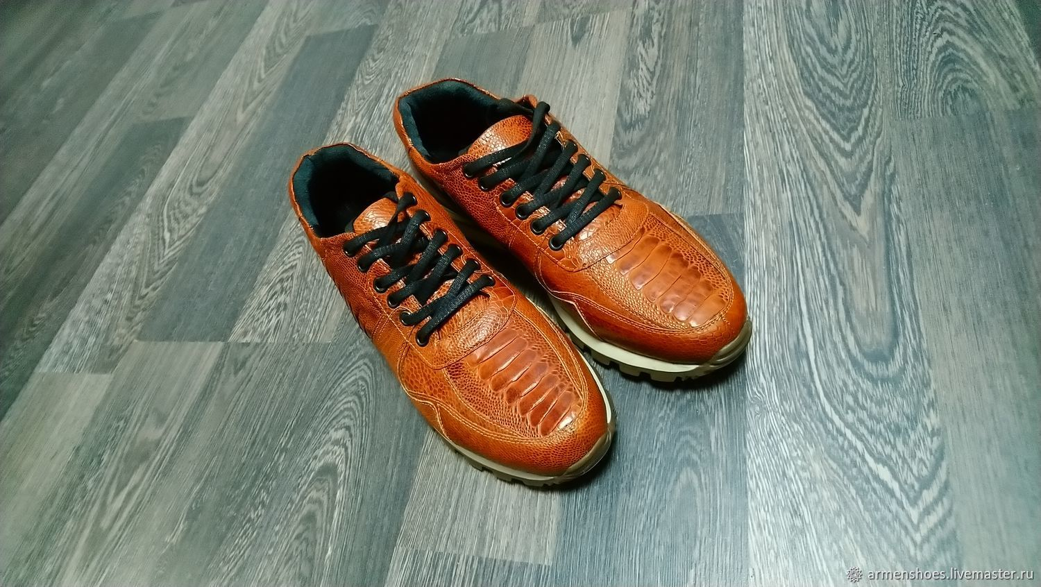 Ostrich calf leather sneakers in light brown, Sneakers, Tosno,  Фото №1