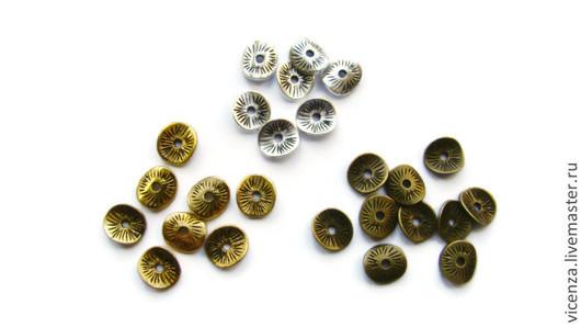 10 шт. 4 цвета. Оригинальные металлические спейсеры (разделители)   `чипсы` с изогнутыми краями. Для украшений. Рукоделкино.