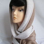 Аксессуары handmade. Livemaster - original item Hood women`s long scarf cappuccino with white kid mohair knit. Handmade.