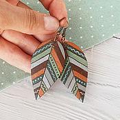 handmade. Livemaster - original item Autumn grass - wooden earrings. Handmade.