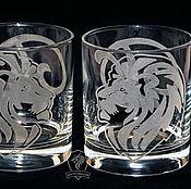 Посуда handmade. Livemaster - original item Lions. Highball glasses. Handmade.