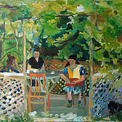 Картины и панно ручной работы. Ярмарка Мастеров - ручная работа Картина. Абхазия. По чашечке кофе. Handmade.