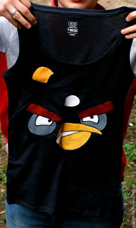 Футболки, майки ручной работы. Ярмарка Мастеров - ручная работа. Купить Майка I am Angry Bird (Я Злая Птичка) (0929). Handmade.