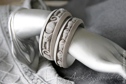 """Браслеты ручной работы. Ярмарка Мастеров - ручная работа. Купить Комплект браслетов """"Ловись рыбка"""" из полимерной глины. Handmade. Серый"""