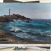 Картины и панно handmade. Livemaster - original item Pastel Turquoise surf painting (lighthouse waves seascape). Handmade.