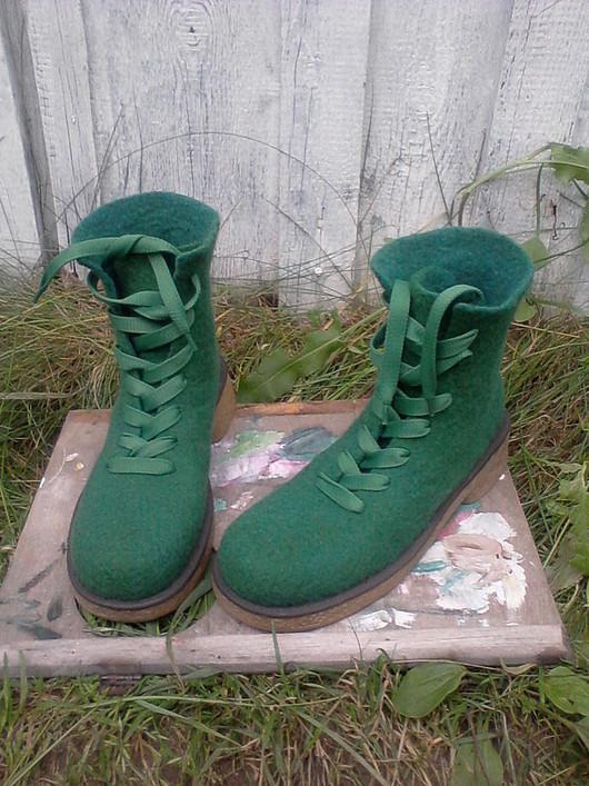 """Обувь ручной работы. Ярмарка Мастеров - ручная работа. Купить Войлочные ботинки """"GREENDERS"""". Handmade. Обувь из войлока, валенки на подошве"""