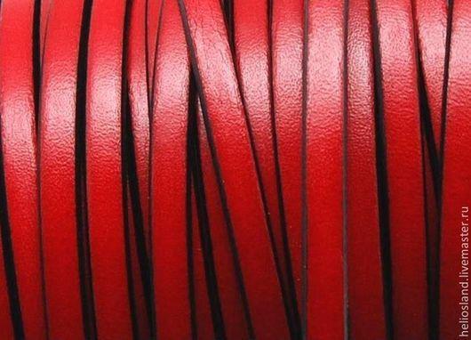 Для украшений ручной работы. Ярмарка Мастеров - ручная работа. Купить Кожаный шнур плоский 5 мм красный. Handmade.