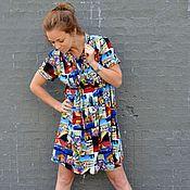 Одежда ручной работы. Ярмарка Мастеров - ручная работа Платье летнее из штапеля ФЛАГИ. Handmade.