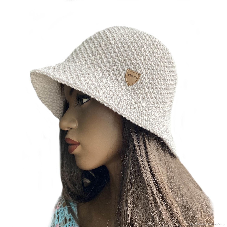 Hat panama crochet summer 'Mona' cotton yarn milk, Hats1, Moscow,  Фото №1
