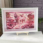 handmade. Livemaster - original item Picture cross stitch Pink fancy, cross stitch. Handmade.