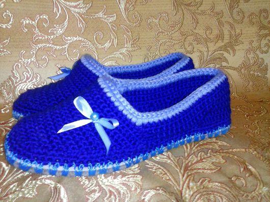 Обувь ручной работы. Ярмарка Мастеров - ручная работа. Купить Домашние тапочки на войлочной подошве. Handmade. Тапочки, вязанные тапочки