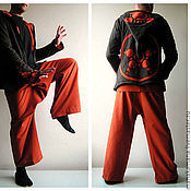Одежда ручной работы. Ярмарка Мастеров - ручная работа Оранжевые Тайские штаны. Handmade.