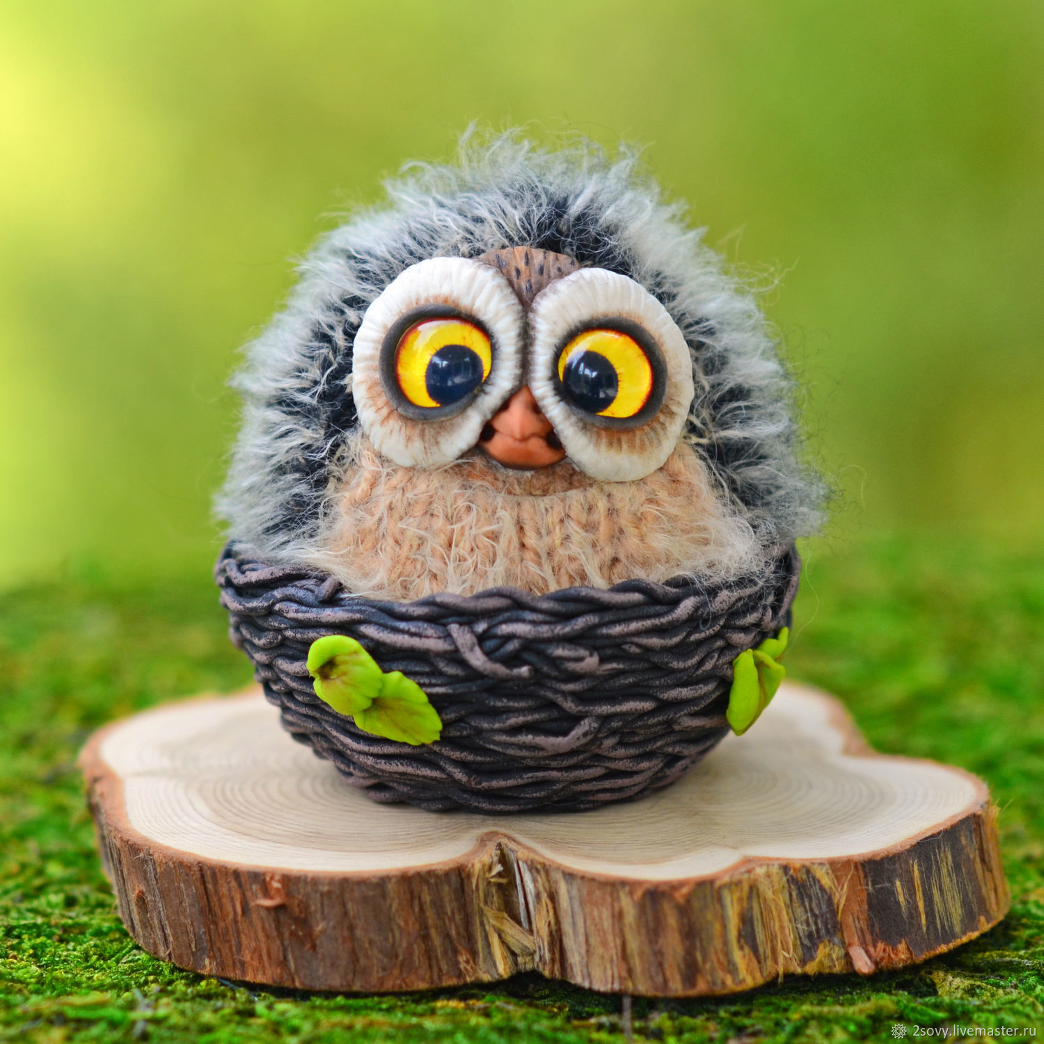 Toy Owl in the nest, Interior doll, Moscow,  Фото №1