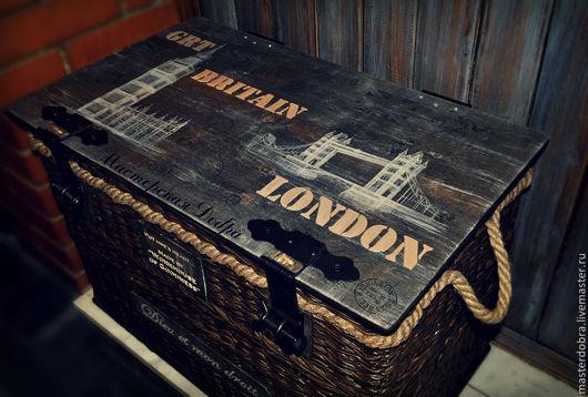 """Корзины, коробы ручной работы. Ярмарка Мастеров - ручная работа. Купить Сундук плетеный """"Мой LONDON"""". Handmade. Лофт, все для спальни"""