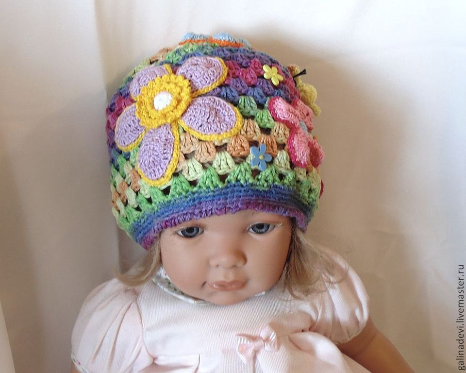 BEANIE for girl 'Flower Paradise' knitted summer, Caps, Moscow,  Фото №1