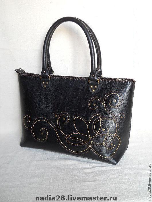 Женские сумки ручной работы. Ярмарка Мастеров - ручная работа. Купить Красивая большая сумка из кожи с ручной вышивкой. Handmade.